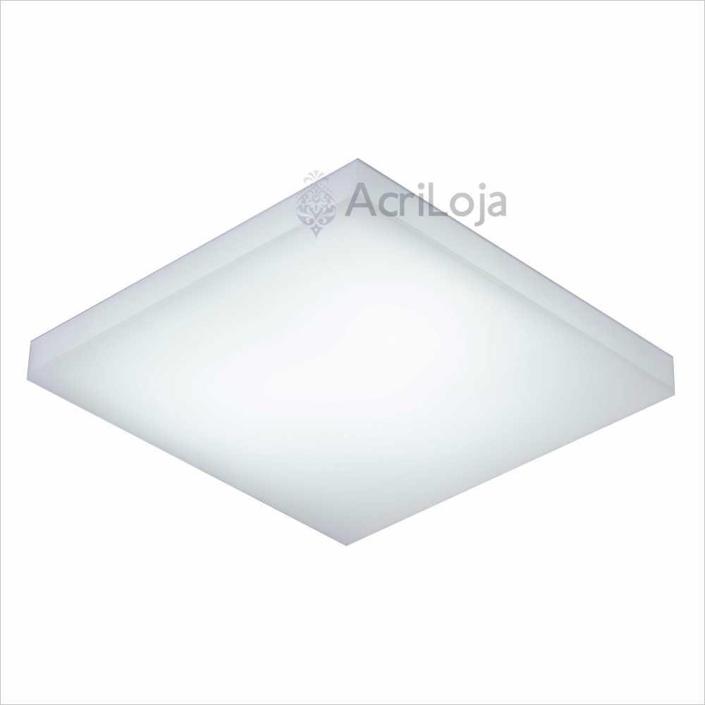 Luminaria Semi Embutida de Teto Quadrado Acrílico 25x25 Cm Fixação Com Imãs, Embutido Elpis Soft