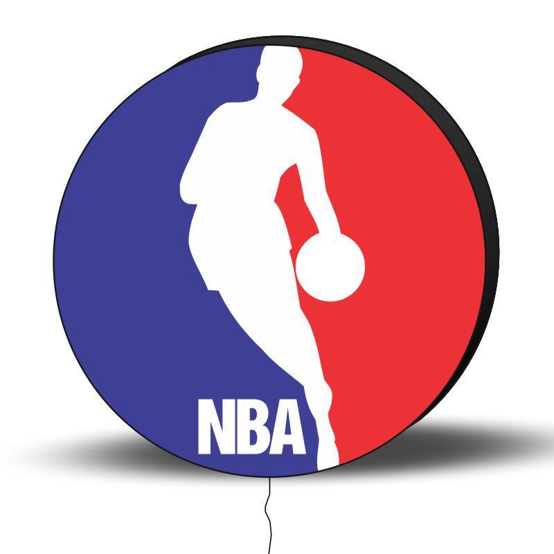 Luminoso de Parede Basquete NBA 40cm Acrilico LED, Luminoso de Bar e Churrasqueira, Placa Decorativa de Parede