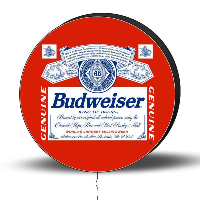 Luminoso de Parede Budweiser 30cm Acrilico LED, Luminoso de Bar e Churrasqueira, Placa Decorativa de Parede