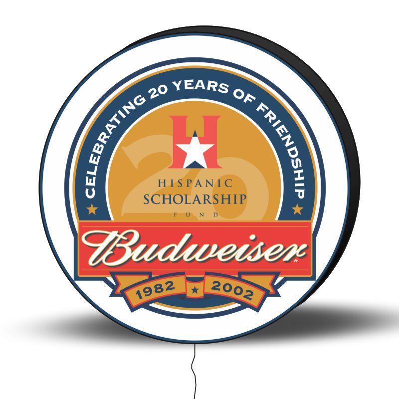 Luminoso de Parede Budweiser Retrô 40cm Acrilico LED, Luminoso de Bar e Churrasqueira, Placa Decorativa de Parede