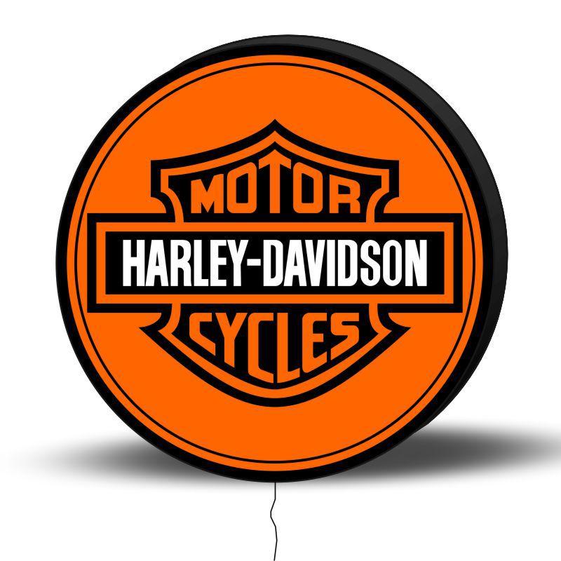 Luminoso de Parede Harley Davidson 30cm Acrilico LED, Luminoso de Bar e Churrasqueira, Placa Decorativa de Parede