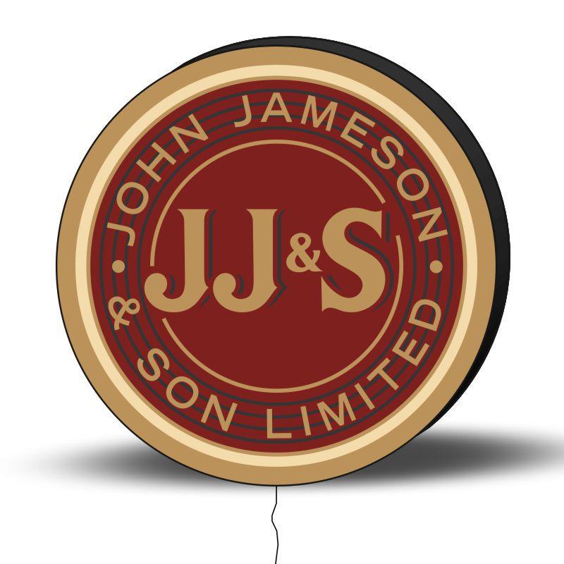 Luminoso de Parede John Jameson 40cm Acrilico LED, Luminoso de Bar e Churrasqueira, Placa Decorativa de Parede