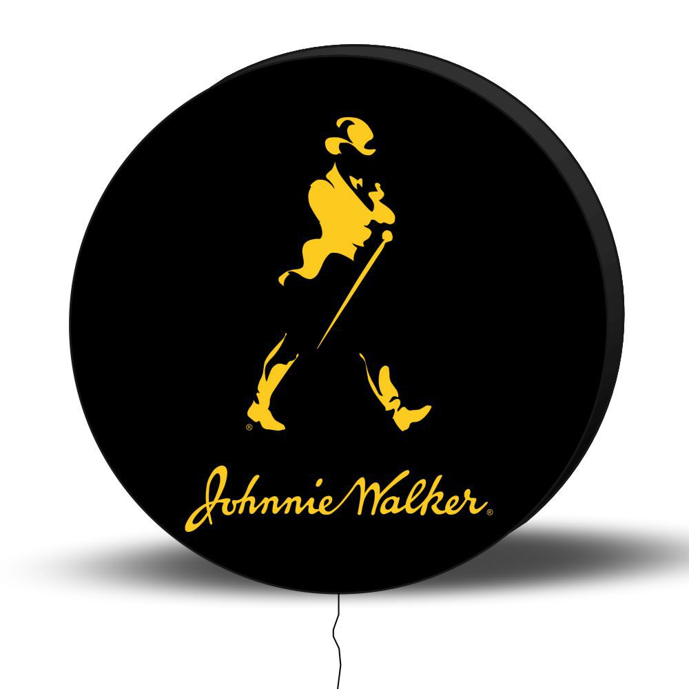Luminoso de Parede Johnnie Walker 30cm Acrilico LED, Luminoso de Bar e Churrasqueira, Placa Decorativa de Parede