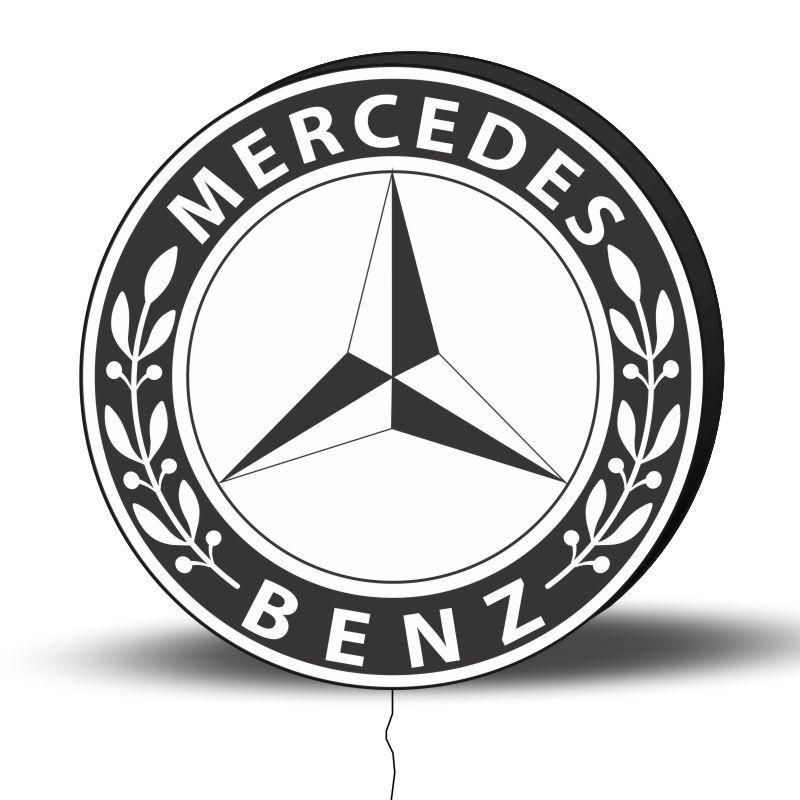 Luminoso de Parede Mercedes 40cm Acrilico LED, Luminoso de Bar e Churrasqueira, Placa Decorativa de Parede
