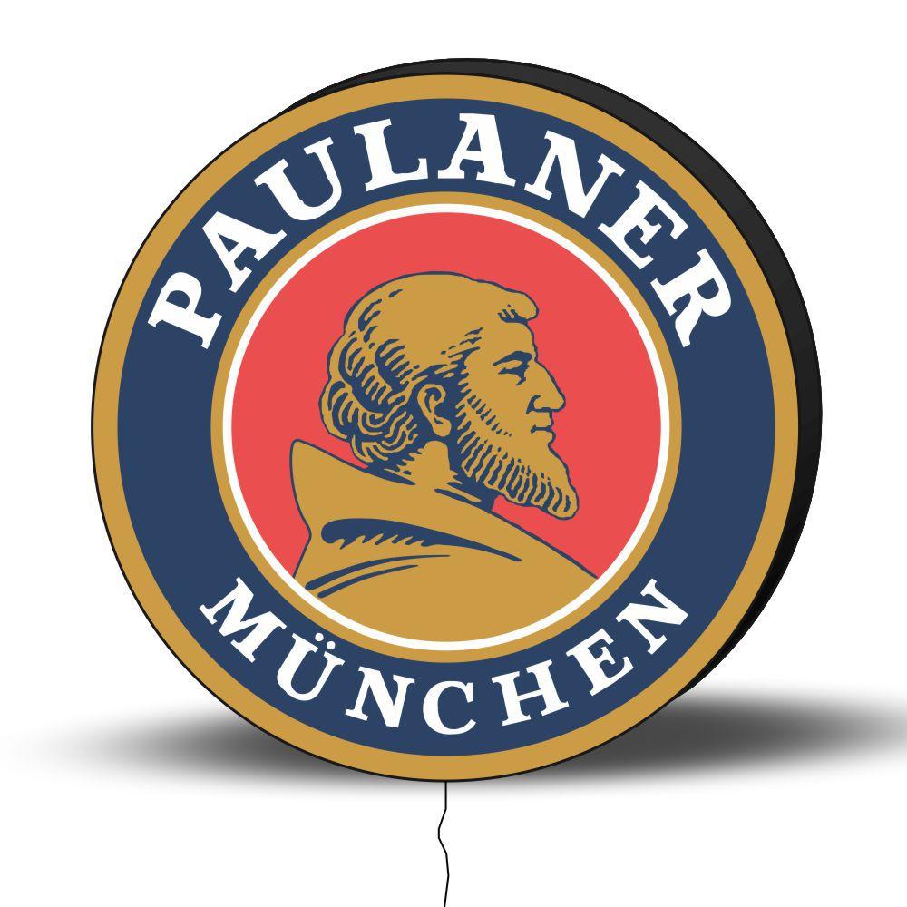 Luminoso de Parede Paulaner 40cm Acrilico LED, Luminoso de Bar e Churrasqueira, Placa Decorativa de Parede