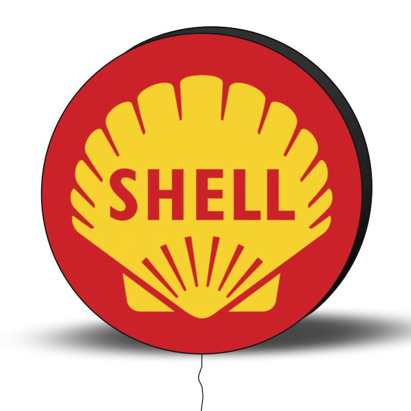 Luminoso de Parede Posto Shell 30cm Acrilico LED, Luminoso de Bar e Churrasqueira, Placa Decorativa de Parede