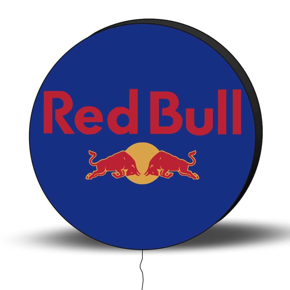 Luminoso de Parede Red Bull Azul 30cm Acrilico LED, Luminoso de Bar e Churrasqueira, Placa Decorativa de Parede