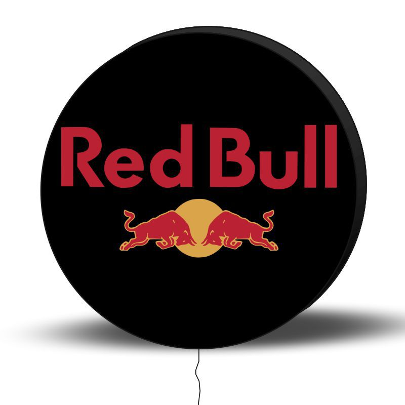 Luminoso de Parede Red Bull Preto 30cm Acrilico LED, Luminoso de Bar e Churrasqueira, Placa Decorativa de Parede