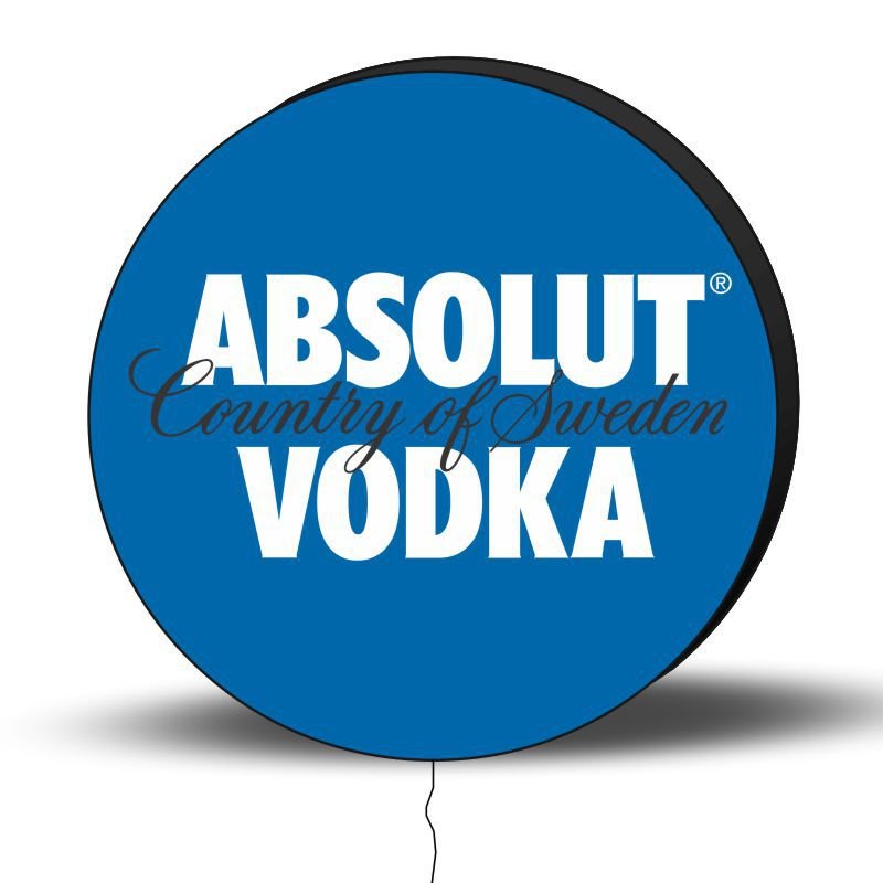 Luminoso de Parede Vodka Absolut 40cm Acrilico LED, Luminoso de Bar e Churrasqueira, Placa Decorativa de Parede