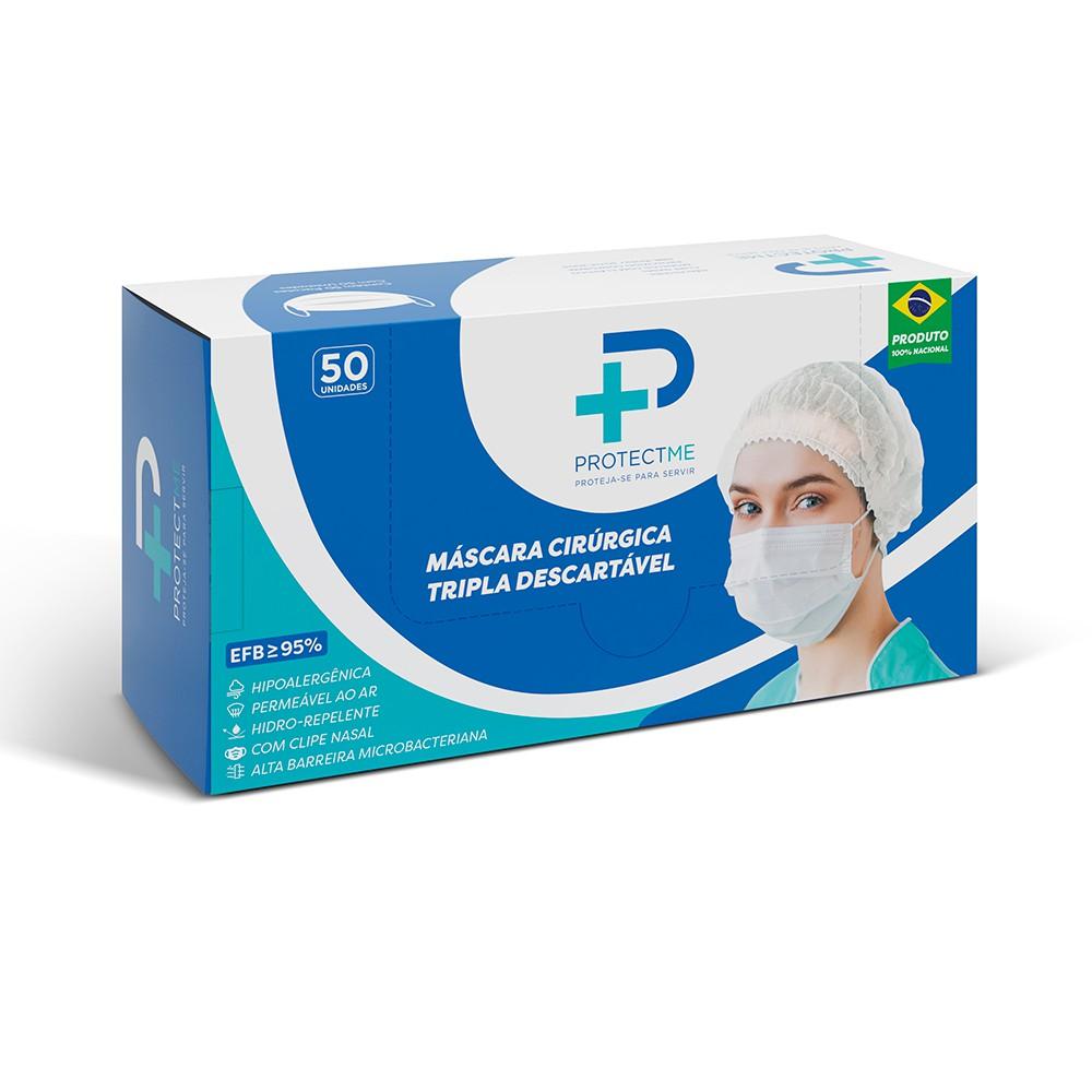 Mascara Cirúrgica Descartável Fabricada em TNT com Camada Tripla - Caixa com 50 unidades