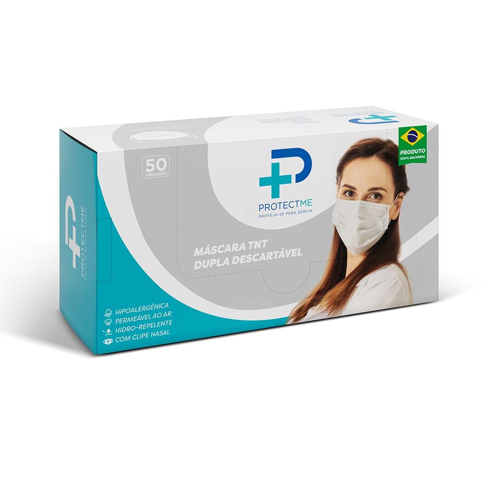Mascara de Proteção Facial Descartável Fabricada em TNT com Camada Dupla - Caixa com 50 unidades