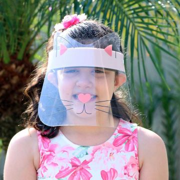 Mascara de Proteção Facial Infantil de 6 a 10 Anos - Face Shield Kids Gatinho