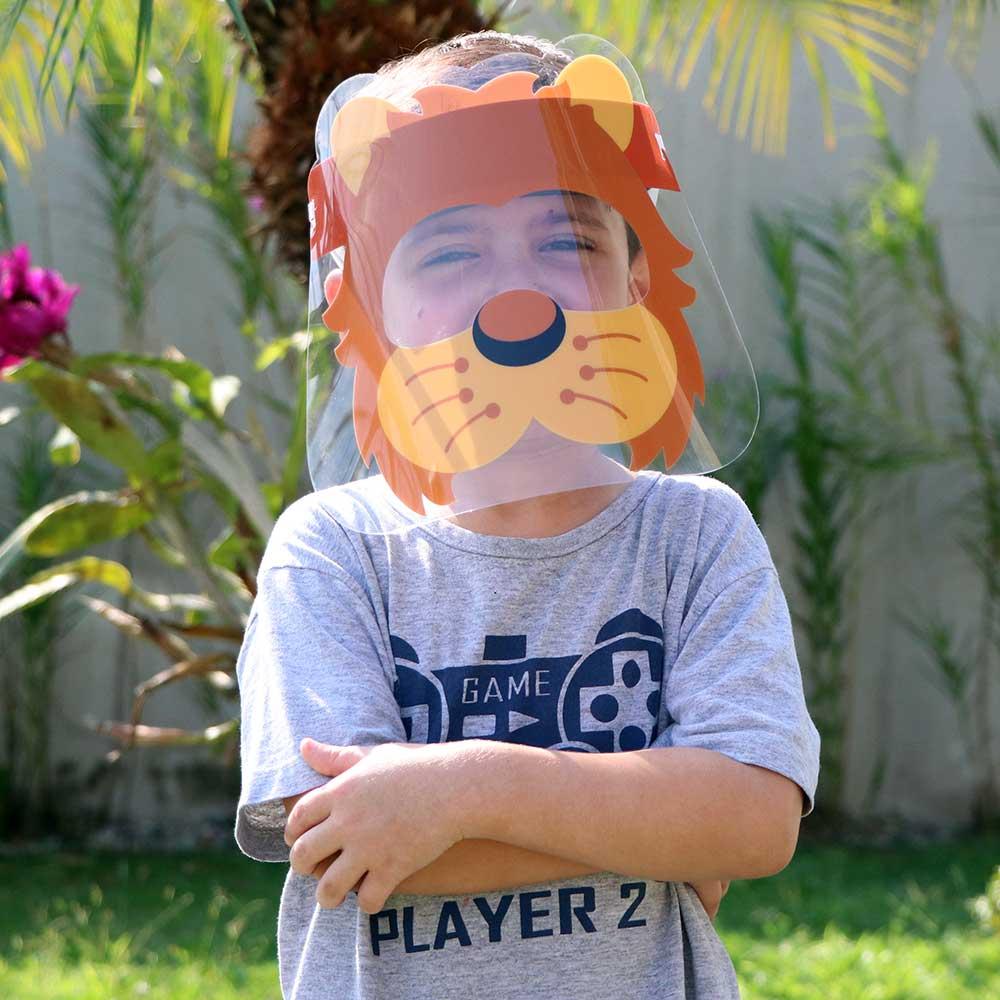 Mascara de Proteção Facial Infantil de 6 a 10 Anos - Face Shield Kids Leaozinho