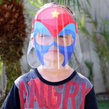 Mascara de Proteção Facial Infantil de 6 a 10 Anos - Face Shield Kids Super Heroi