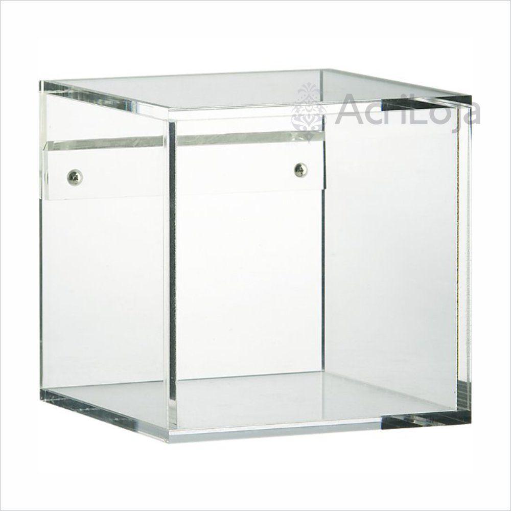 Nicho de Parede Quadrado de Acrilico Transparente, Branco ou Preto | Medida: 20x20x20cm