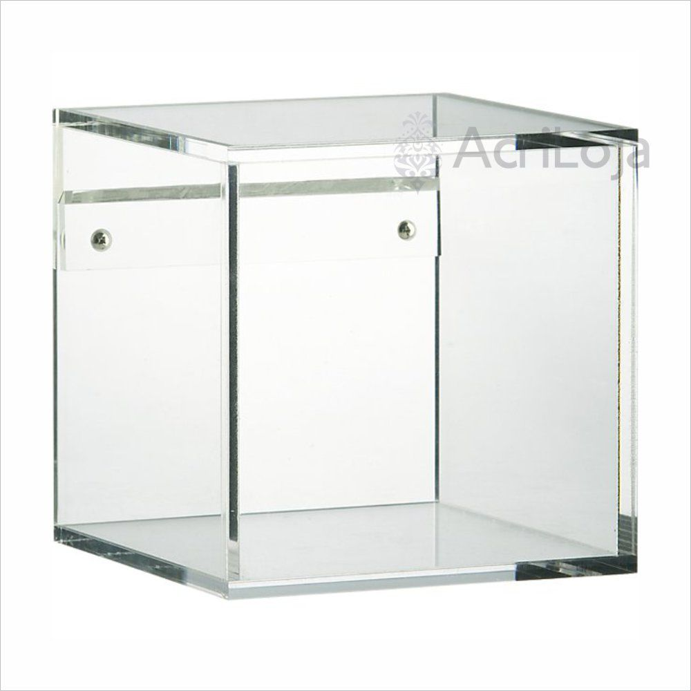 Nicho de Parede Quadrado de Acrilico Transparente, Branco ou Preto | Medida: 40x40x20cm