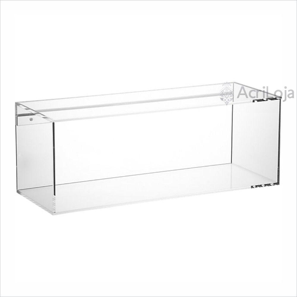 Nicho de Parede Retangular de Acrilico Transparente, Branco ou Preto | Medida: 100x25x20cm