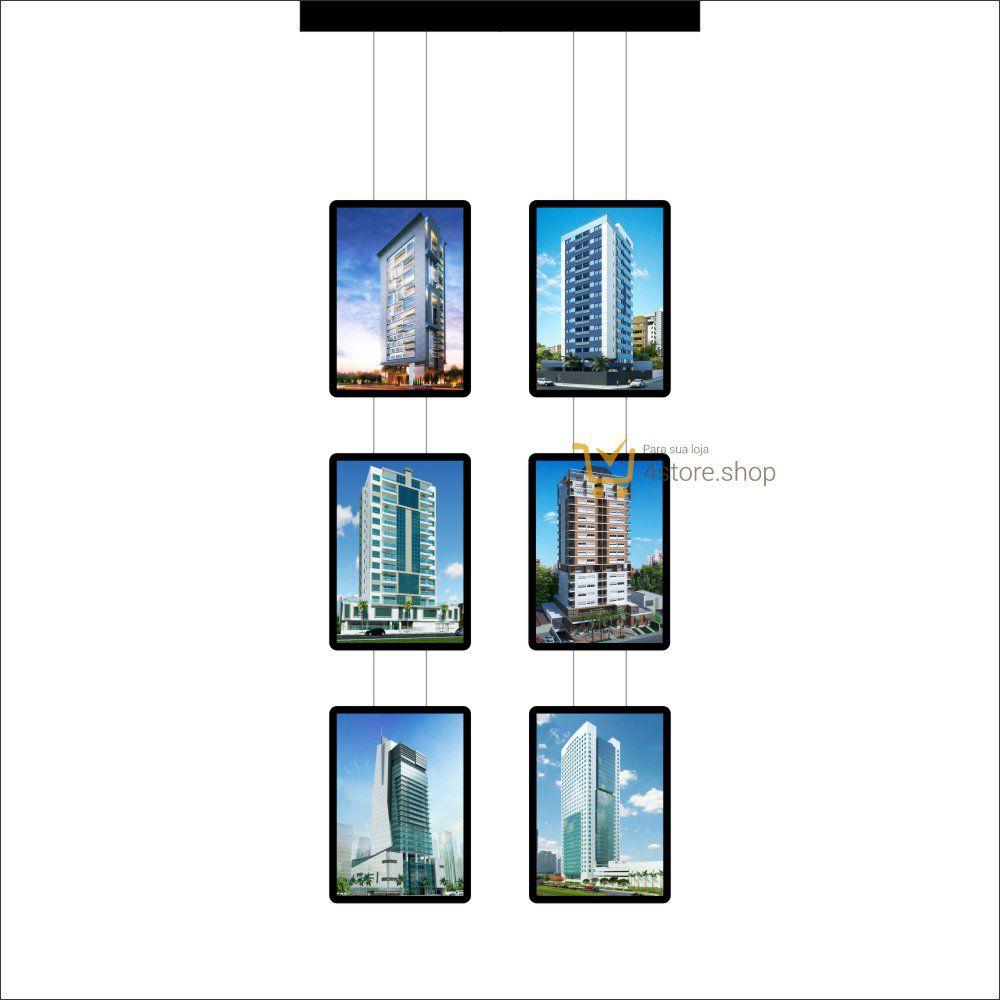 Painel de LED para Vitrines e Fachadas iluminadas de Imobiliária | 6 Display Tamanho A3
