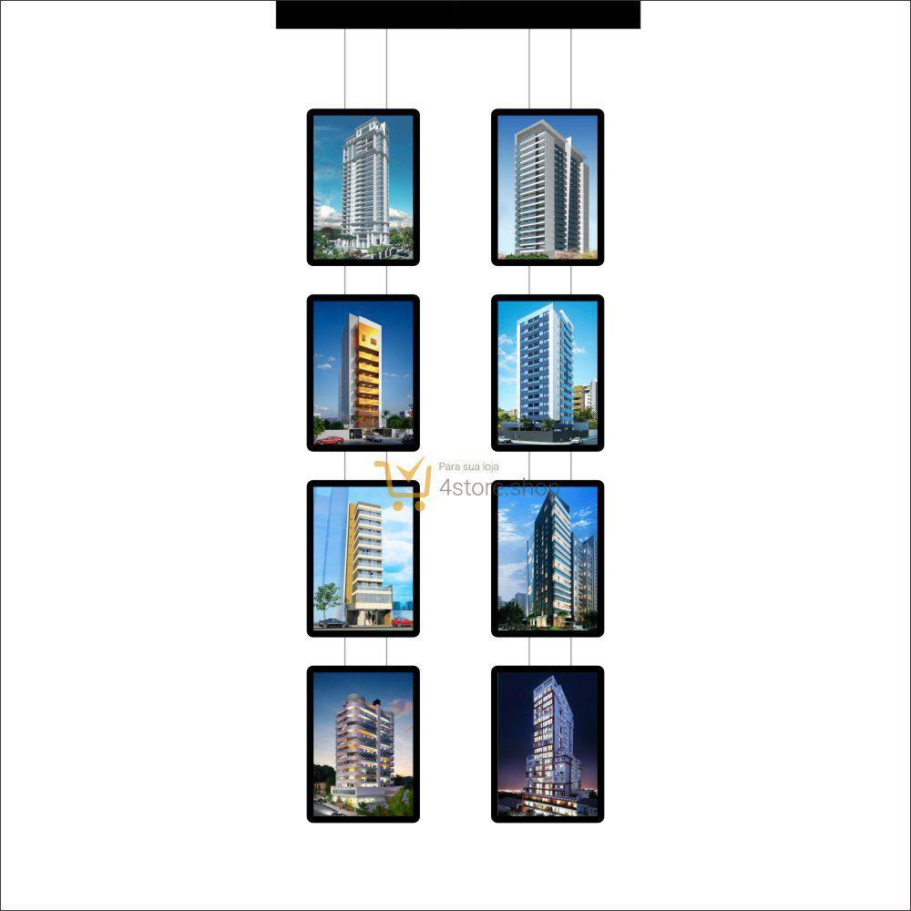 Painel de LED para Vitrines e Fachadas iluminadas de Imobiliária | 8 Display Tamanho A3