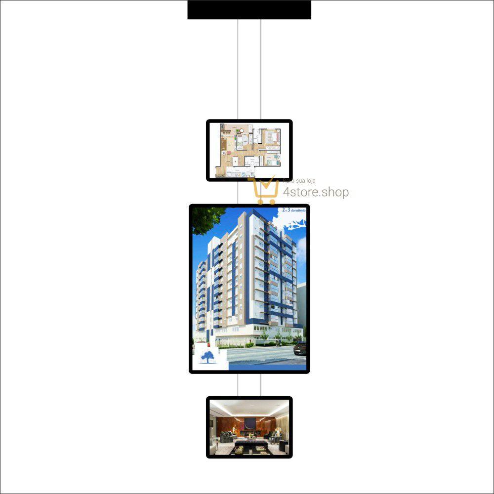 Painel de LED para Vitrines e Fachadas iluminadas de imobiliárias | 1 Display Tamanho A1 + 2 A3