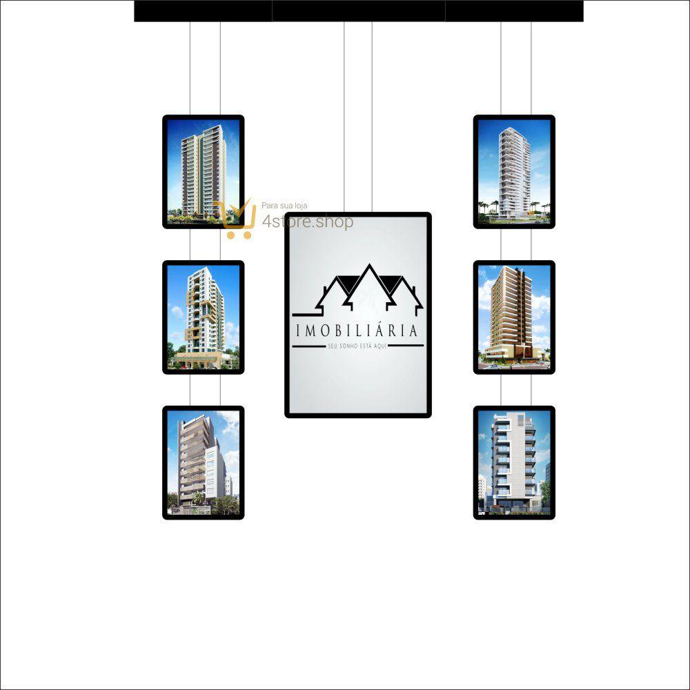 Painel de LED para Vitrines e Fachadas iluminadas de imobiliárias | 1 Display Tamanho A1 + 6 A3