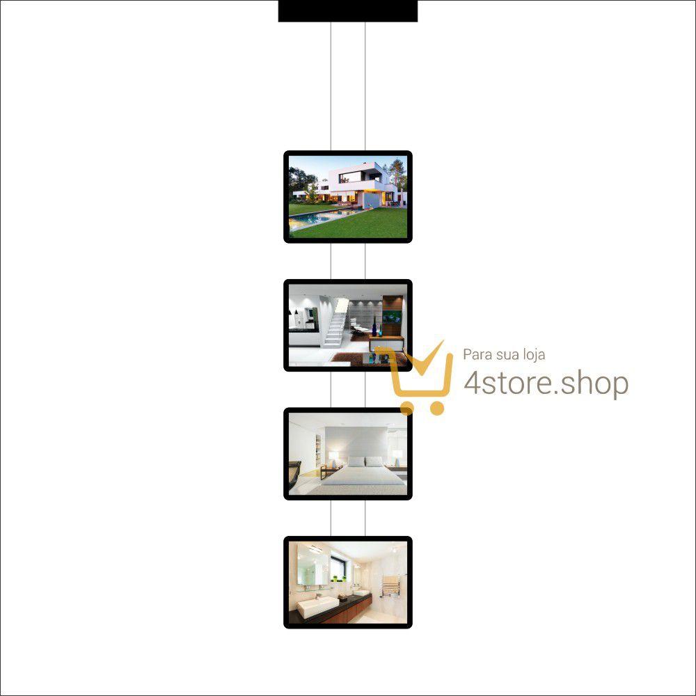 Painel de LED para Vitrines e Fachadas iluminadas de imobiliárias | 4 Display Tamanho A3