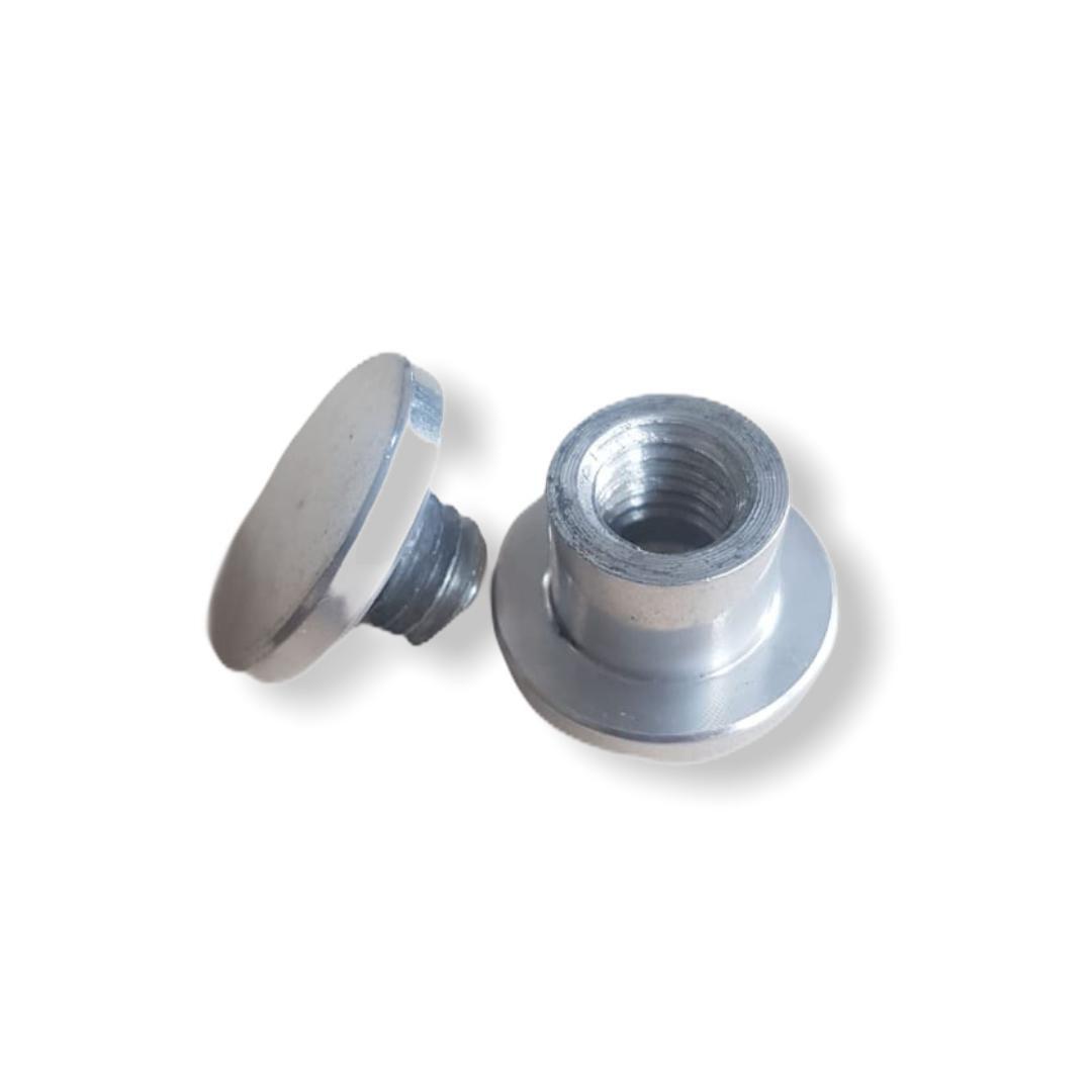Pitão Macho Fêmea em Aluminio Polido Comprimento 15mm
