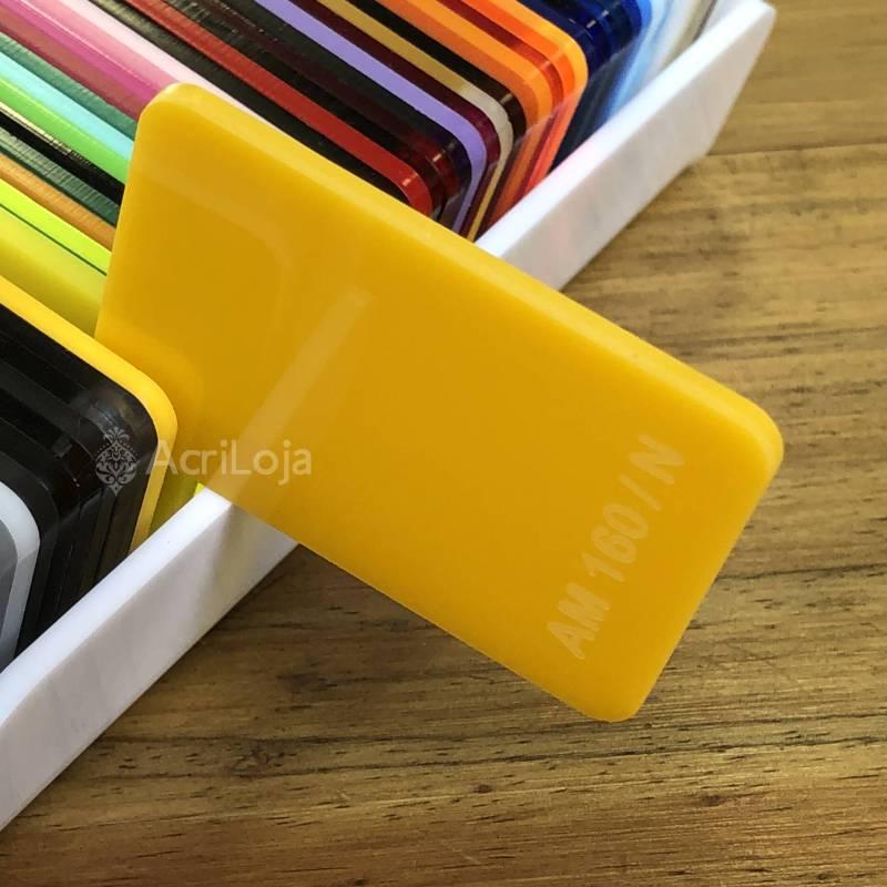 Placa de Acrilico Amarelo Translucido 100cm x 200cm, Chapa de Acrilico Amarelo AM 160