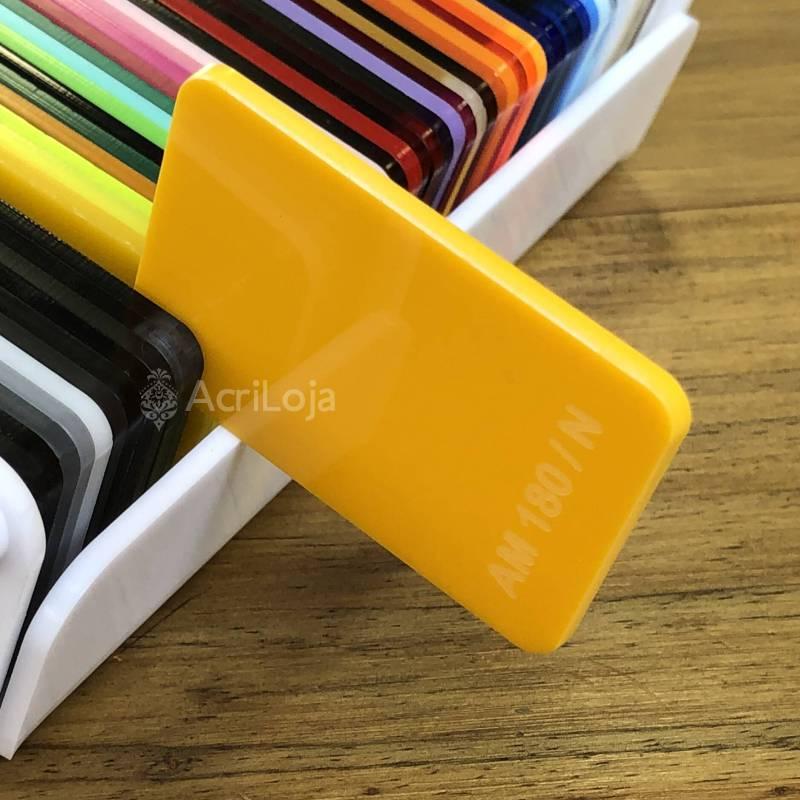 Placa de Acrilico Amarelo Translucido 100cm x 200cm, Chapa de Acrilico Amarelo AM 180