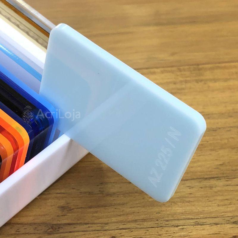 Placa de Acrilico Azul Bebê Translucido 100cm x 200cm, Chapa de Acrilico Azul AZ 225