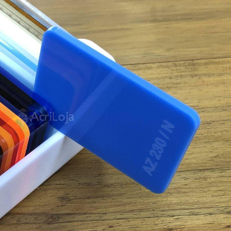 Placa de Acrilico Azul Translucido 100cm x 200cm, Chapa de Acrilico Azul AZ 230