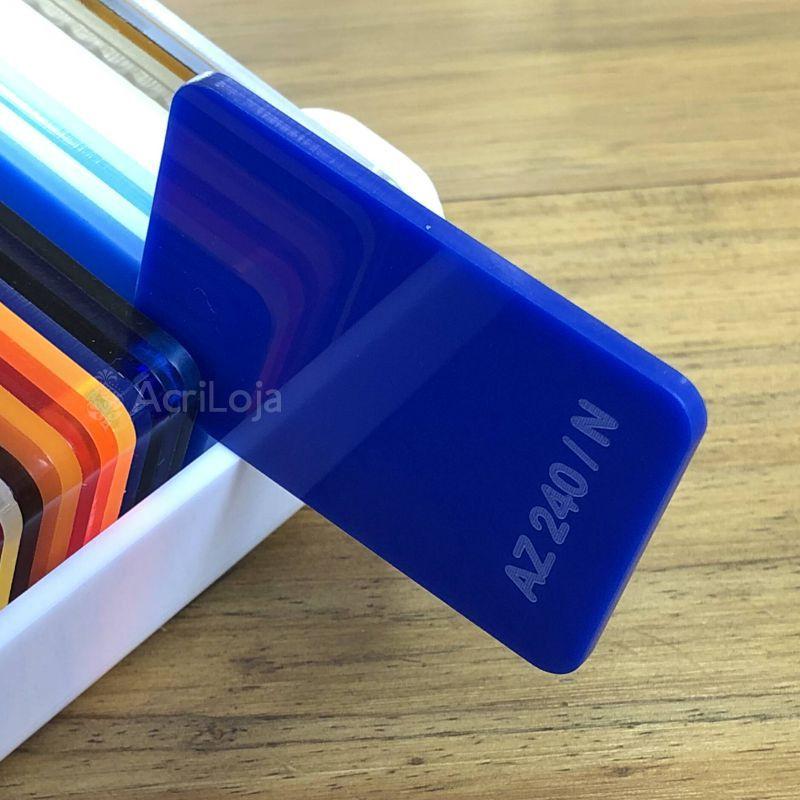 Placa de Acrilico Azul Translucido 100cm x 200cm, Chapa de Acrilico Azul AZ 240