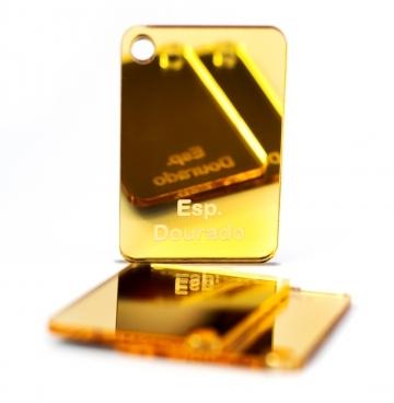 Placa de Acrilico Espelhado Dourado 100cm x 50cm Espessura 2mm, Chapa de Acrilico
