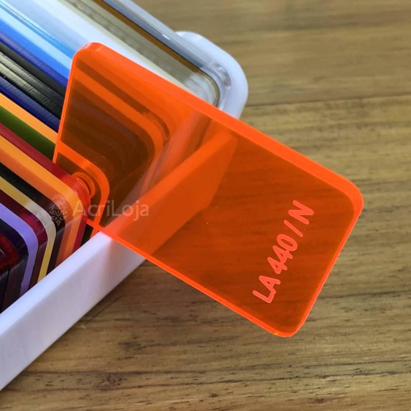 Placa de Acrilico Laranja Neon Fluorescente Transparente 100cm x 200cm, Chapa de Acrilico Laranja LA-440