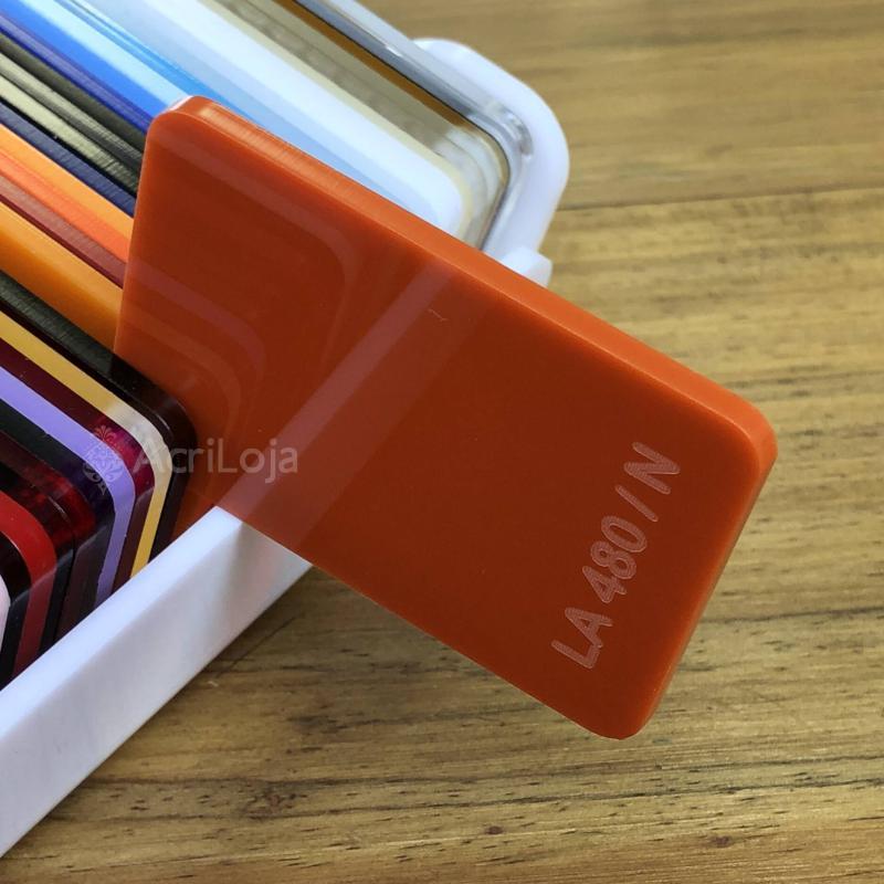 Placa de Acrilico Laranja Translucido 100cm x 200cm, Chapa de Acrilico Laranja LA-480