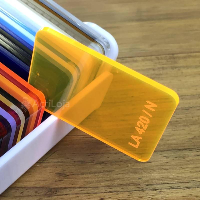 Placa de Acrilico Laranja Transparente 100cm x 200cm, Chapa de Acrilico Laranja LA-420