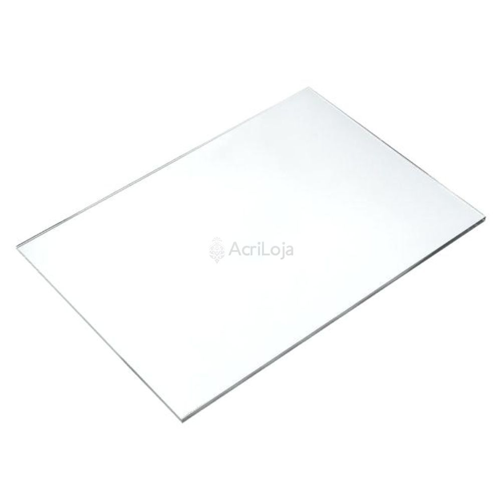 Placa de Acrilico Transparente 100cm x 50cm Espessura 2mm, Chapa de Acrilico Cristal, Incolor