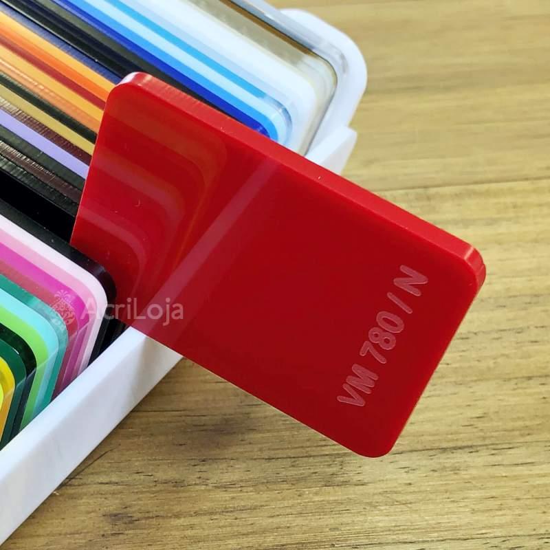 Placa de Acrilico Vermelho Translucido 100cm x 200cm, Chapa de Acrilico Vermelho VM-780
