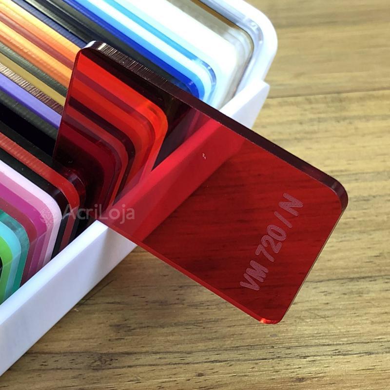 Placa de Acrilico Vermelho Transparente Claro 100cm x 200cm, Chapa de Acrilico Vermelho VM-720