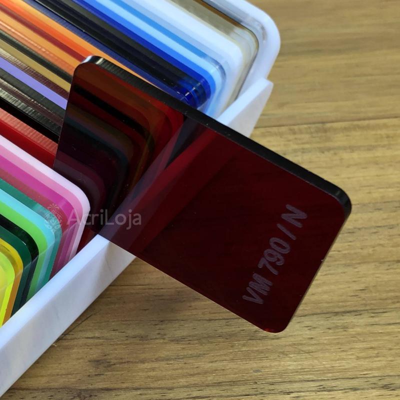 Placa de Acrilico Vermelho Transparente Escuro 100cm x 200cm, Chapa de Acrilico Vermelho VM-790