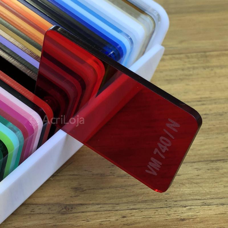 Placa de Acrilico Vermelho Transparente Neutro 100cm x 200cm, Chapa de Acrilico Vermelho VM-740