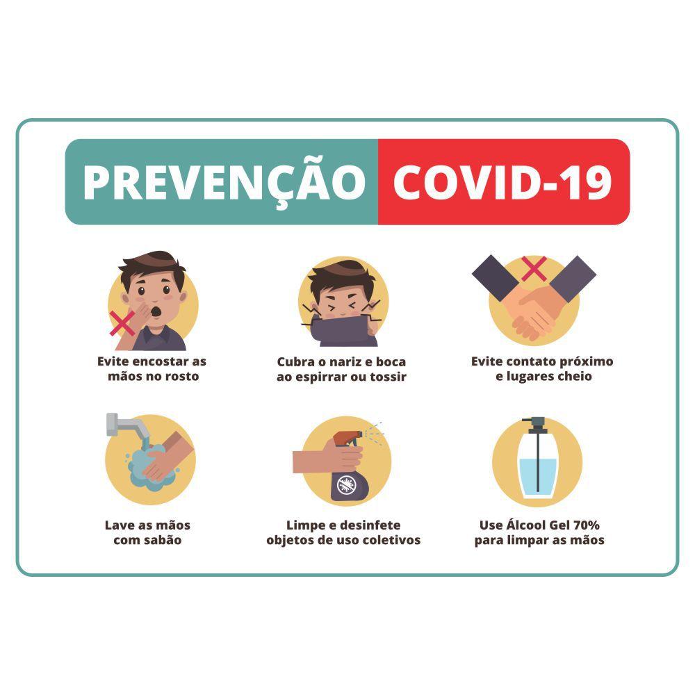 Placa Informativa Coronavirus Covid-19 - Cuidados e Prevenção - Tamanho 26x20cm