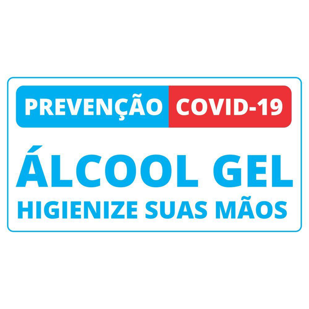 Placa Informativa Coronavirus Covid-19 - Uso do Álcool Gel - Tamanho 26x20cm