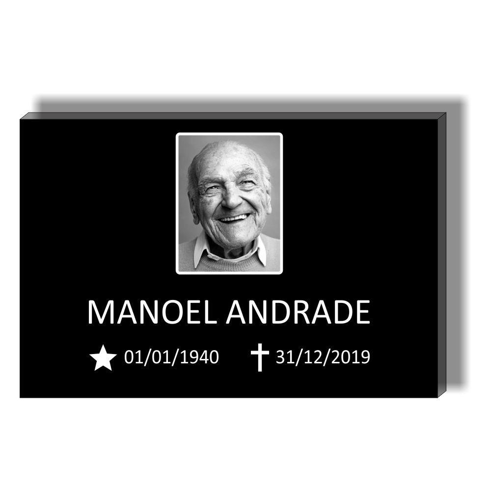 Placa para Tumulo, Jazigo, Sepultura em Acrilico - Lapide para uma pessoa - Modelo 1 Com Foto Preto e Branco