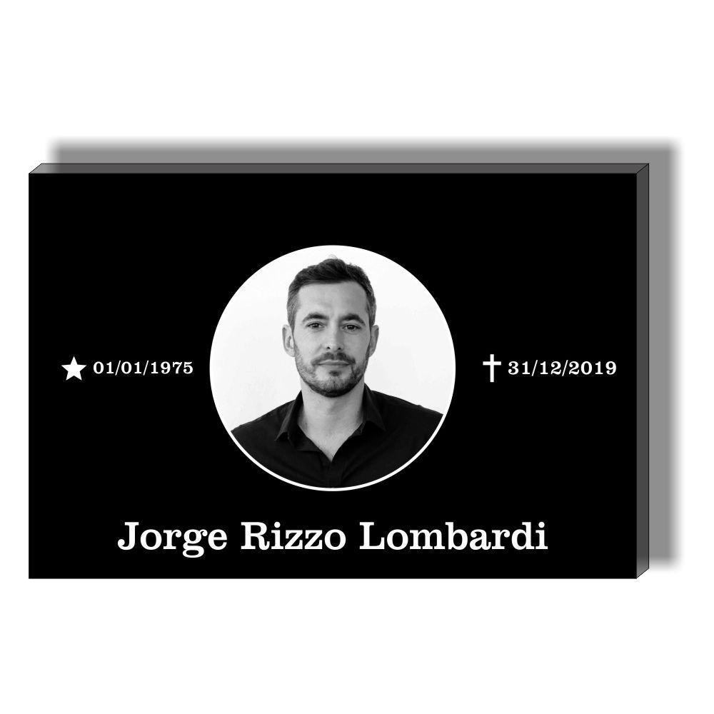 Placa para Tumulo, Jazigo, Sepultura em Acrilico - Lapide para uma pessoa - Modelo 3 Com Foto Preto e Branco
