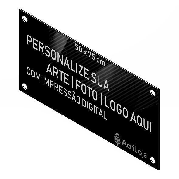 Placa, Quadro, Fachada de Acrilico Personalizada 150x75cm, Para Lojas, Empresas, Casas e Condomínios