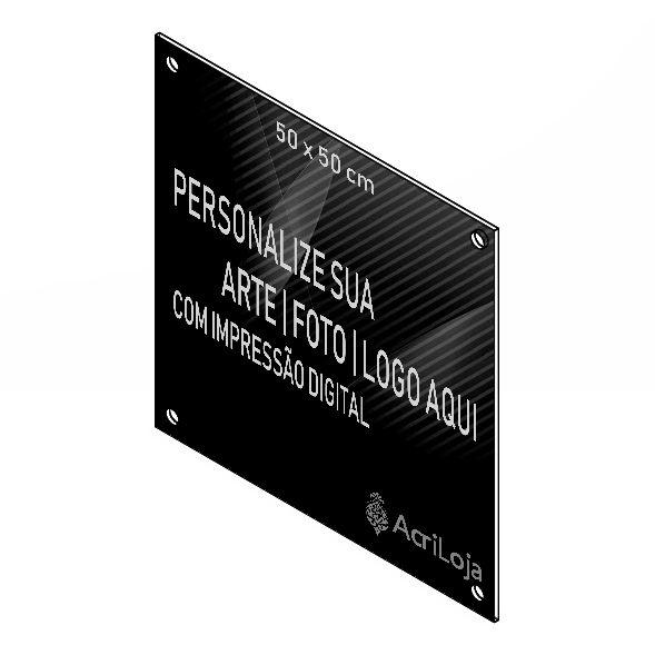 Placa, Quadro, Fachada de Acrilico Personalizada 50x50cm, Para Lojas, Empresas, Casas e Condomínios