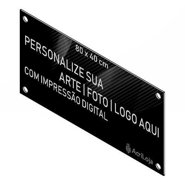 Placa, Quadro, Fachada de Acrilico Personalizada 80x40cm, Para Lojas, Empresas, Casas e Condomínios