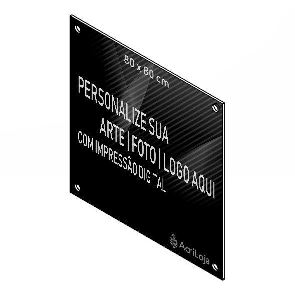 Placa, Quadro, Fachada de Acrilico Personalizada 80x80cm, Para Lojas, Empresas, Casas e Condomínios