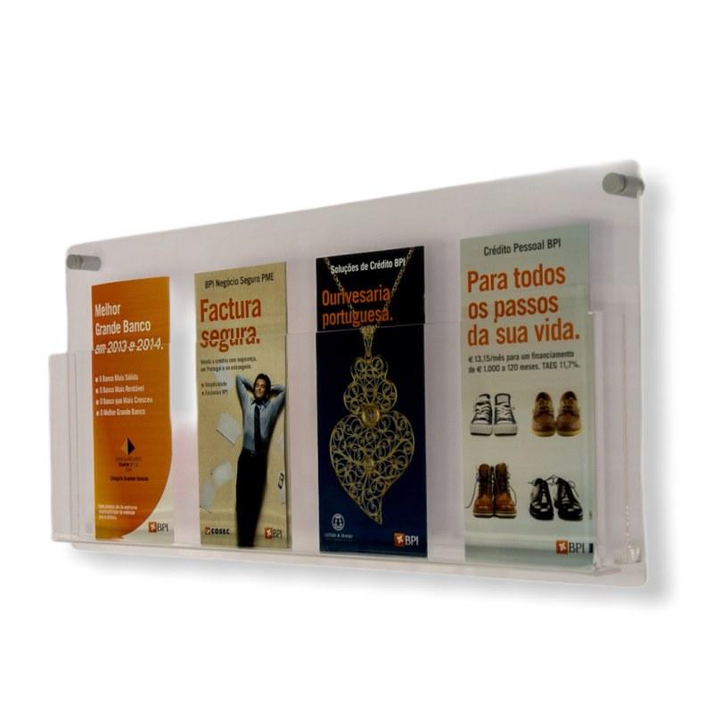 Porta Folder e Folhetos de Parede Em Acrílico Transparente Tamanho 56x26cm
